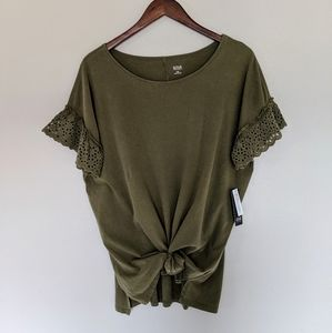 NWT ANA Olive Green Lace Sleeve Top (Med Tall)